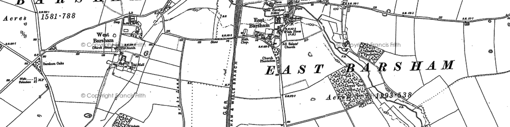 Old map of East Barsham in 1885
