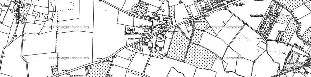 Old map of Bedfont in 1912