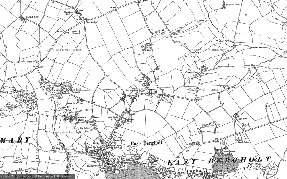Old Map of Historic Map covering Ackworth Ho in 1884