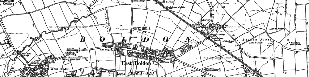 Old map of East Boldon in 1913