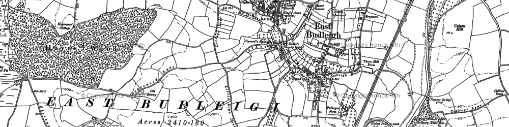 Old map of East Budleigh in 1888