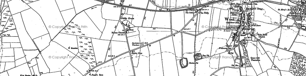 Old map of East Burton in 1886