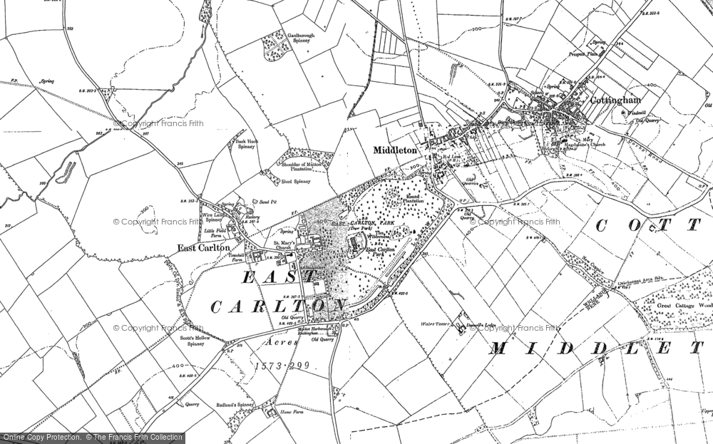 Old Map of Historic Map covering Askershaw Wood in 1885