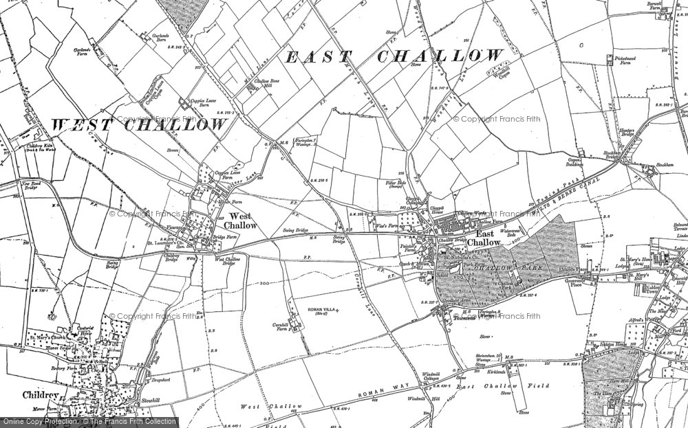Map of East Challow, 1898