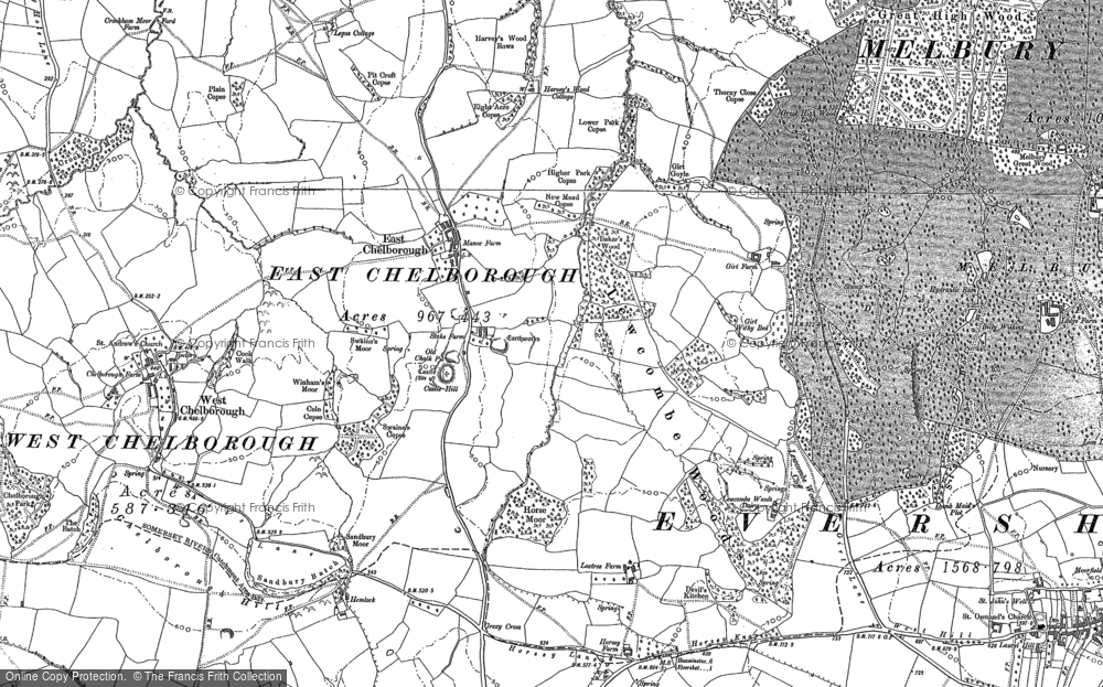 Old Map of Historic Map covering Adam's Green in 1887