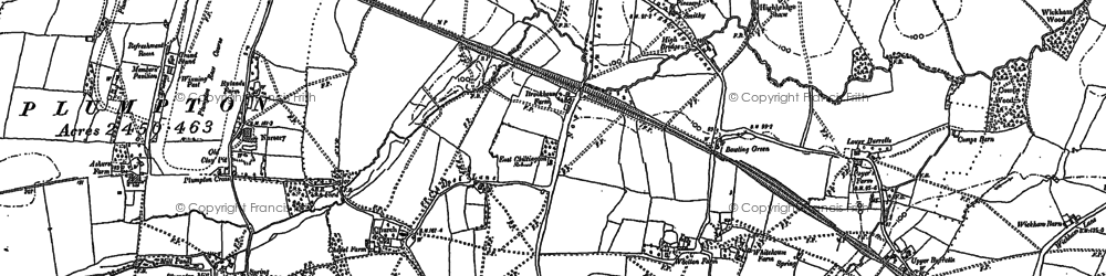 Old map of Ashurst in 1896