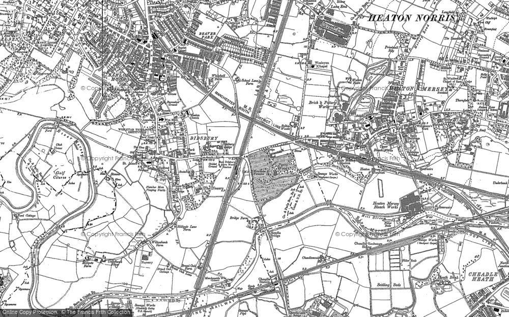 Old Map of Historic Map covering Abney Hall in 1897