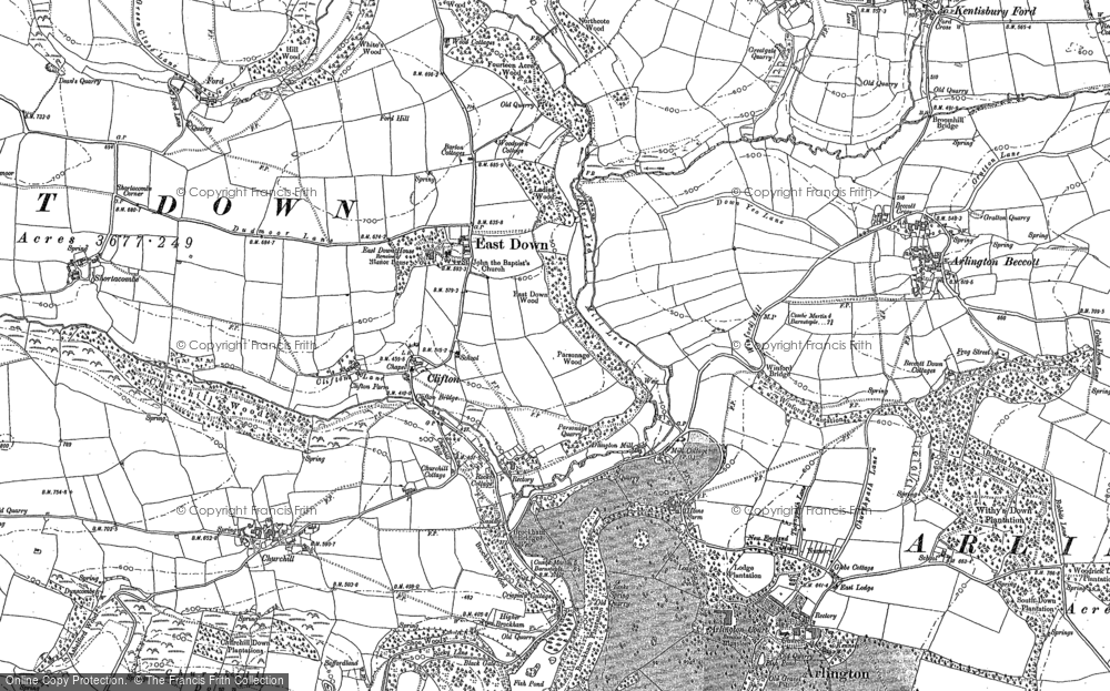 Old Map of Historic Map covering Ashelford in 1886