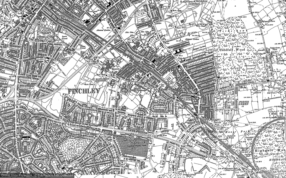 Old Map of East Finchley, 1894 - 1896 in 1894