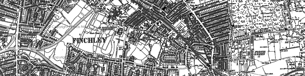 Old map of East Finchley in 1894