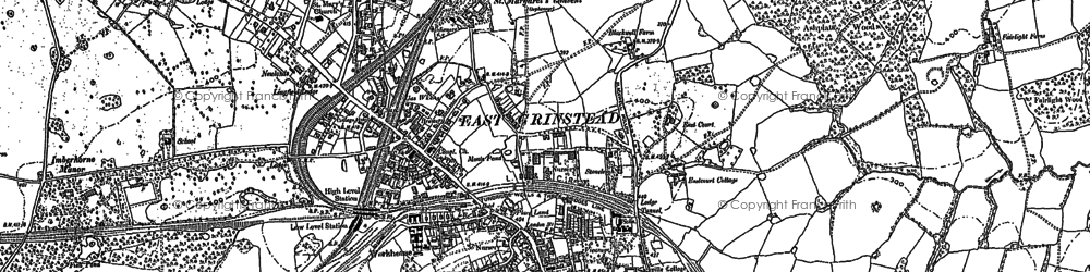 Old map of East Grinstead in 1908