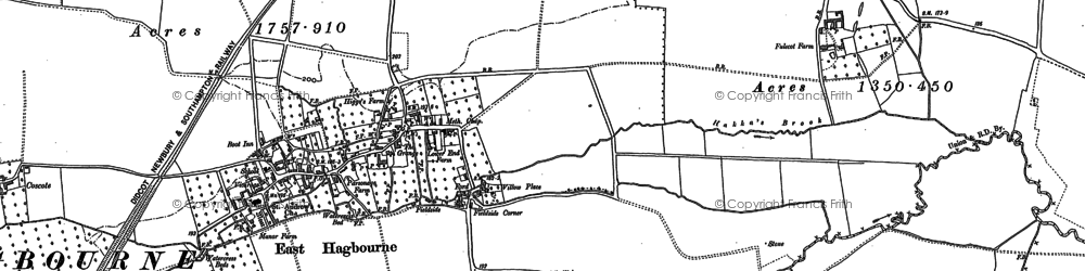 Old map of East Hagbourne in 1898