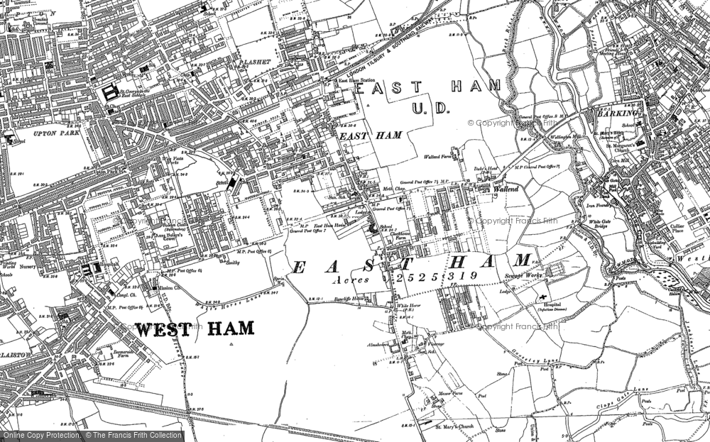 Old Map of East Ham, 1894 - 1895 in 1894