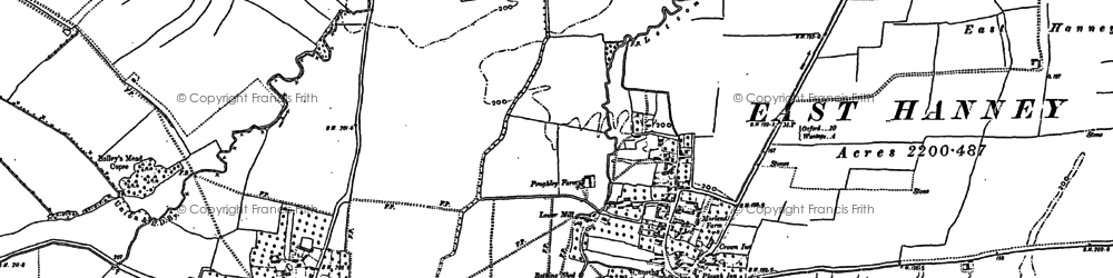 Old map of East Hanney in 1898