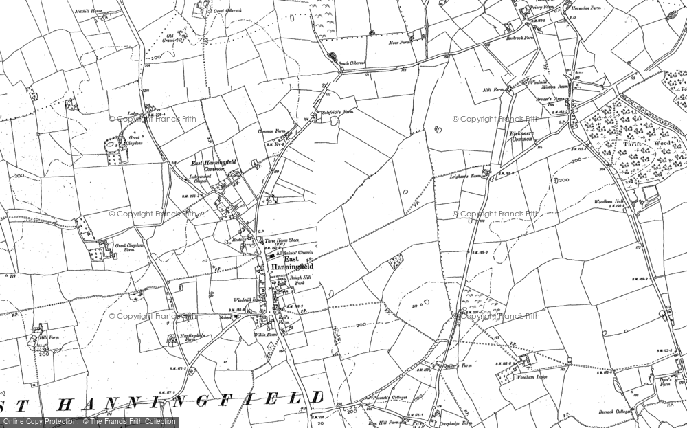 Old Map of Historic Map covering Woodham Lodge in 1895
