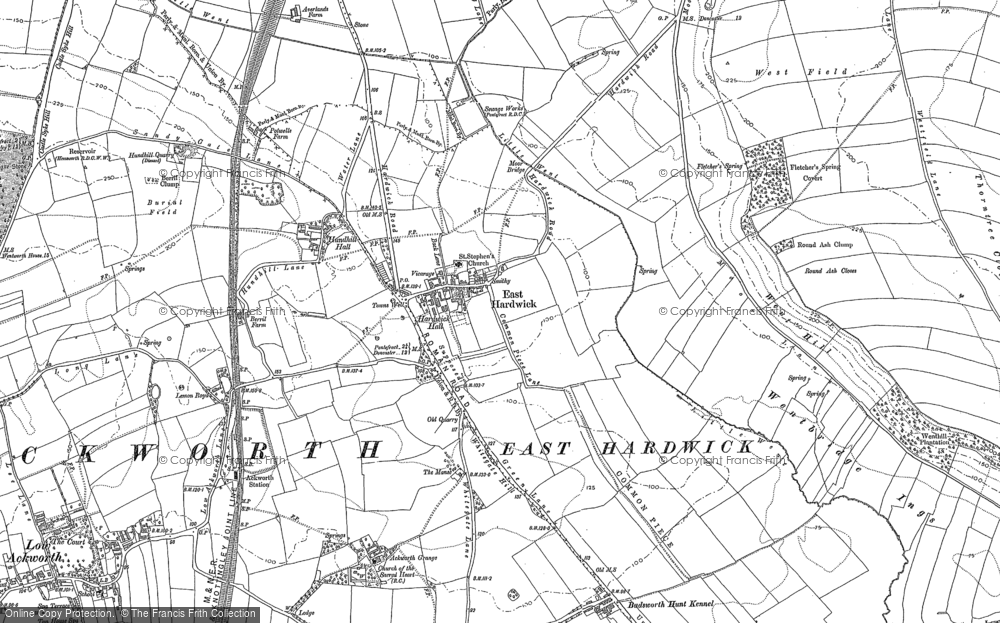 Old Map of Historic Map covering Ackworth Grange in 1860
