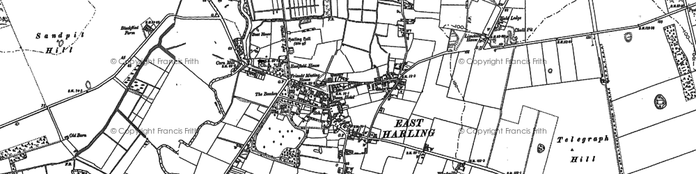Old map of East Harling in 1882