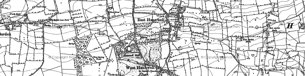 Old map of Hauxwell Moor in 1891