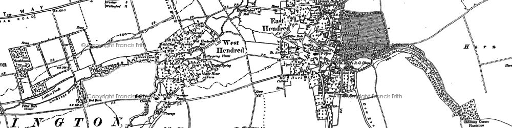 Old map of East Hendred in 1898