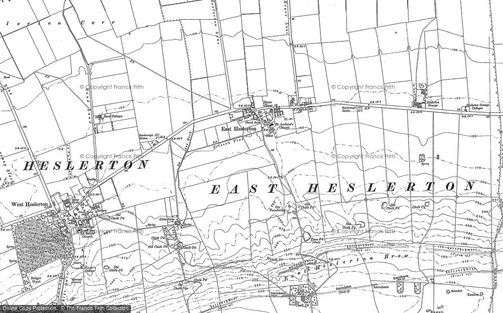 Map of East Heslerton, 1889
