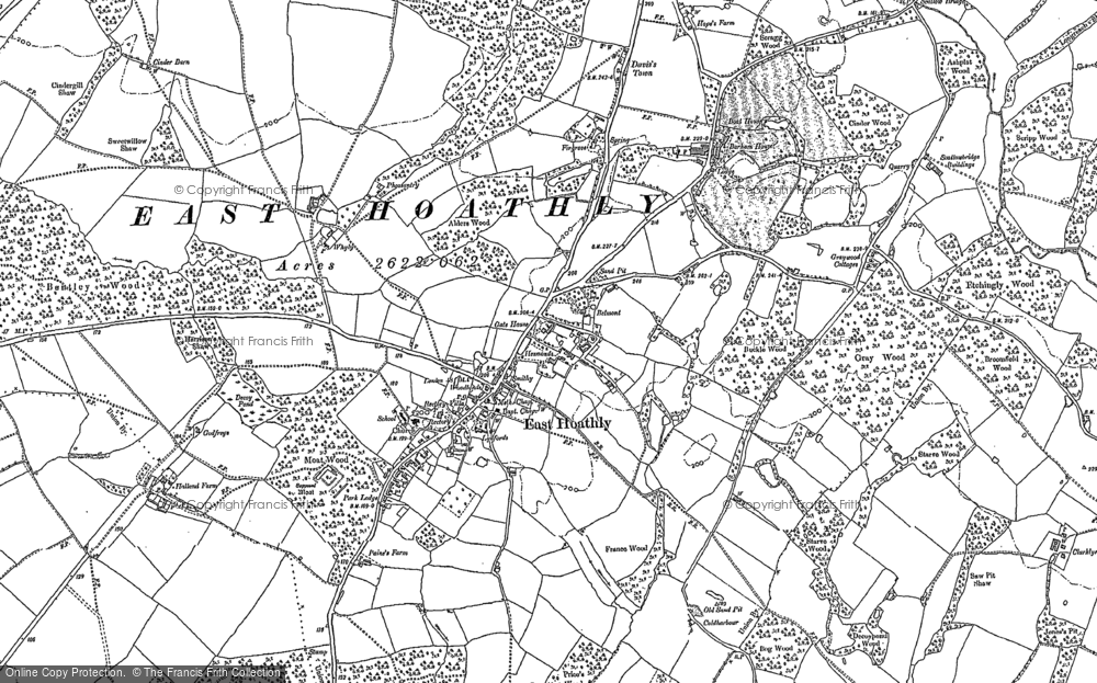 Old Map of Historic Map covering Barham Ho in 1898