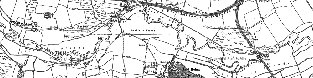 Old map of Worgret in 1887