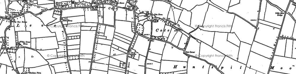 Old map of East Huntspill in 1884