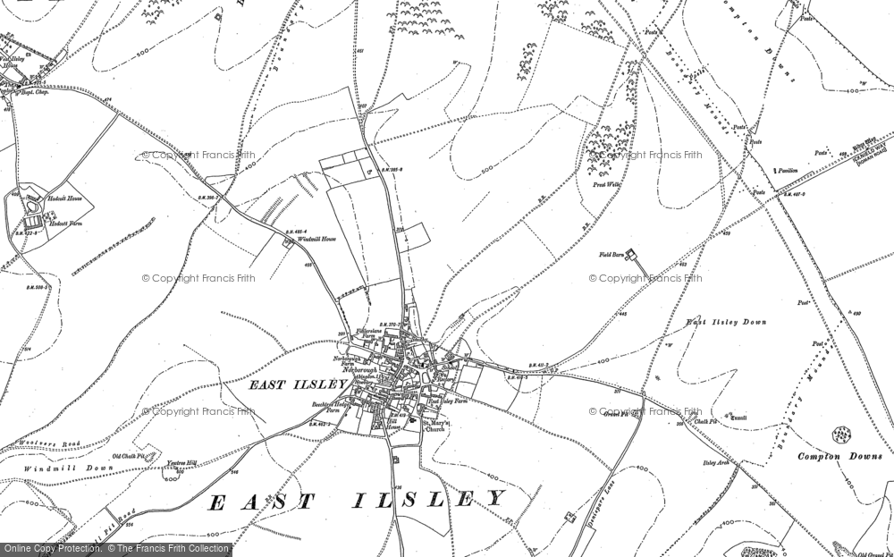 Old Map of Historic Map covering Abingdon Lane Down in 1898