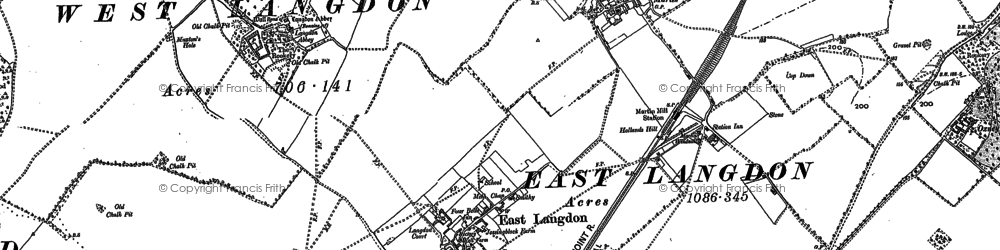 Old map of Langdon Abbey in 1896