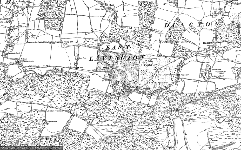 Old Map of Historic Map covering Woolavington Down in 1896