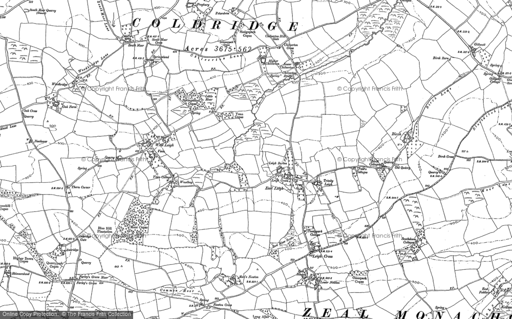 Old Map of Historic Map covering Leigh Cross in 1886