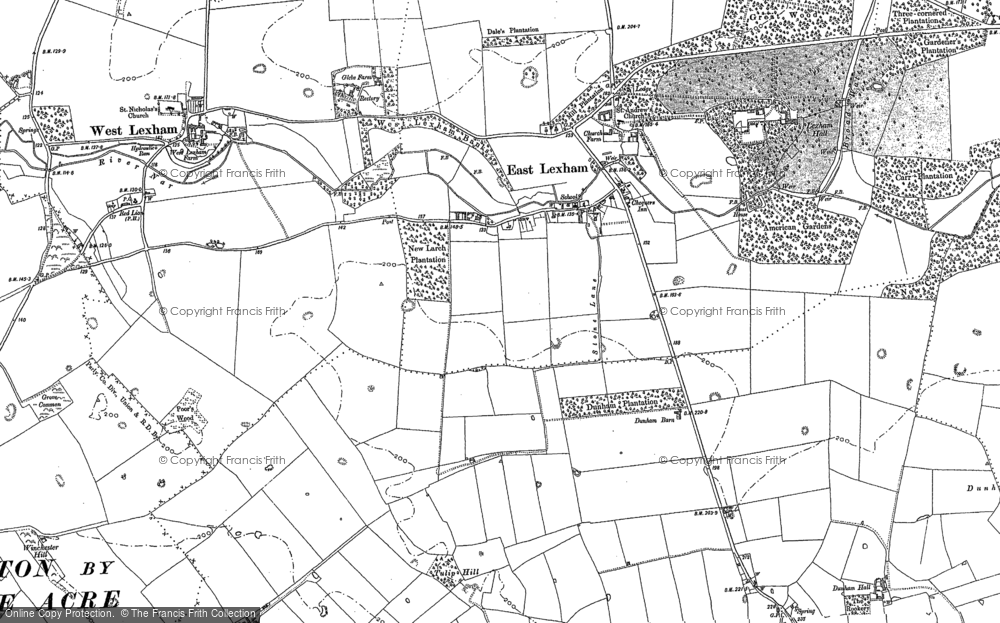 Old Map of Historic Map covering Lexham Hall in 1883