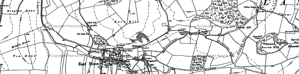 Old map of East Meon in 1895