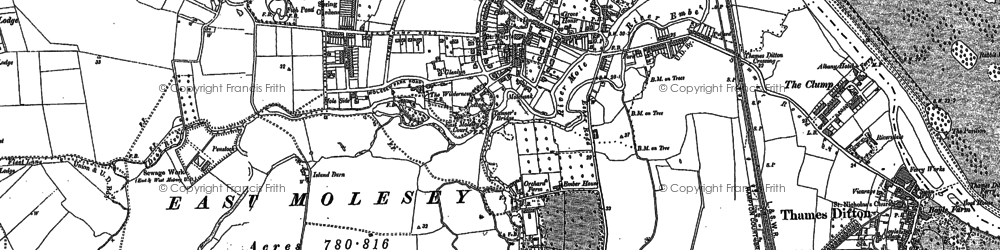 Old map of East Molesey in 1894
