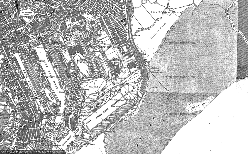 Old Map of Historic Map covering Atlantic Wharf in 1889