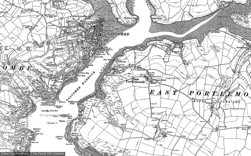 Old Map of Historic Map covering Westerncombe in 1905