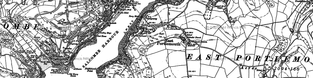 Old map of East Portlemouth in 1905