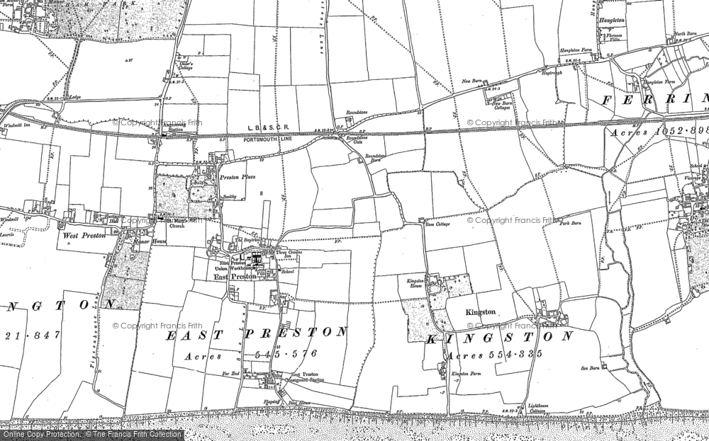 Old Map of Historic Map covering Angmering-on-Sea in 1896