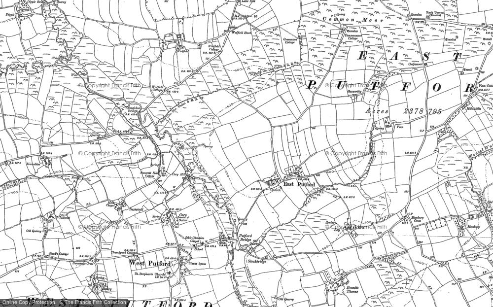Old Map of East Putford, 1884 in 1884