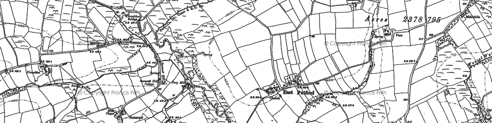 Old map of Wrangworthy Cross in 1884
