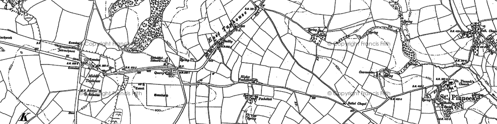 Old map of East Taphouse in 1881