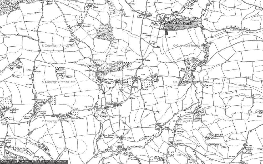 Old Map of Historic Map covering Aller Down in 1887