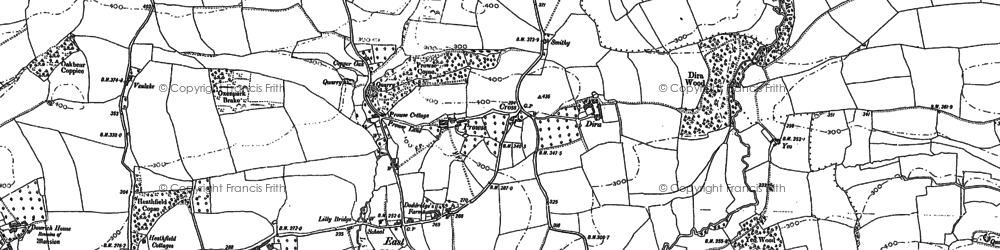 Old map of Aller Down in 1887