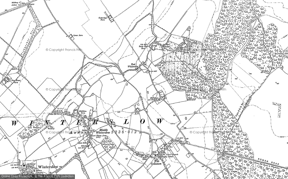 Old Map of Historic Map covering Ashley's Copse in 1908