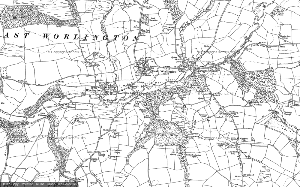 Old Map of Historic Map covering Affeton Barton in 1887