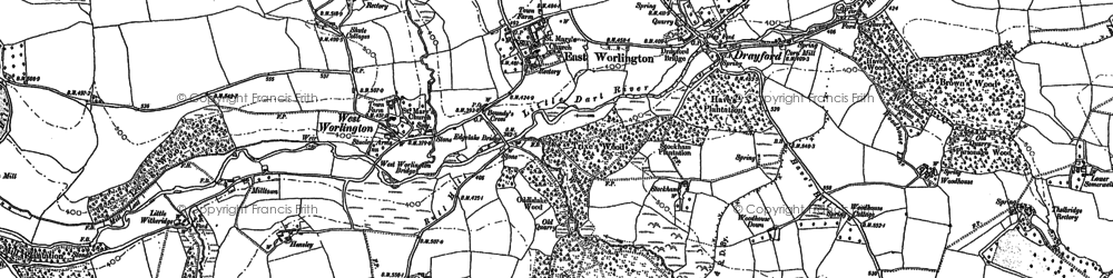 Old map of Affeton Barton in 1887