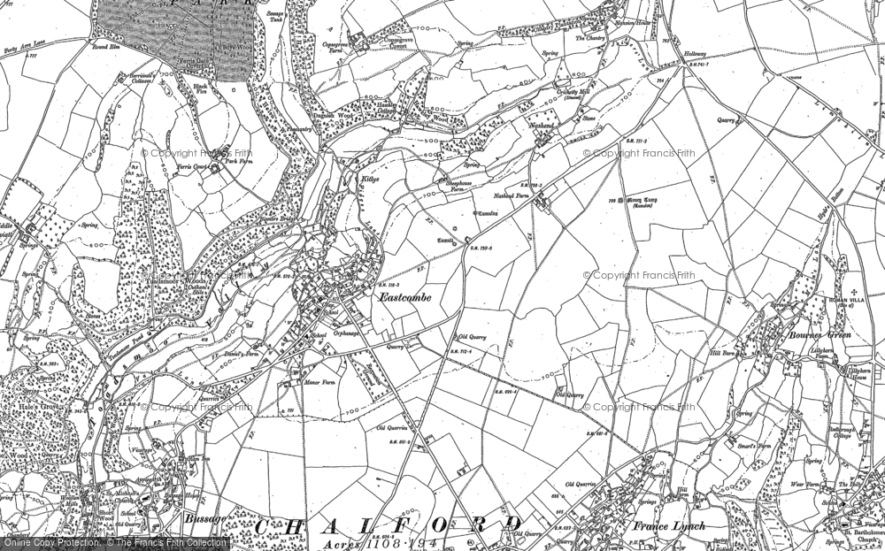 Old Map of Historic Map covering Toadsmoor Woods in 1882