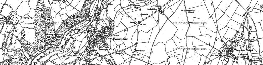 Old map of Toadsmoor Valley in 1882