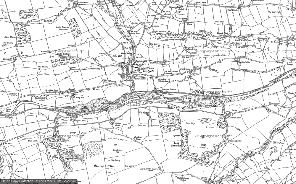 Old Map of Historic Map covering Aller Gill in 1895