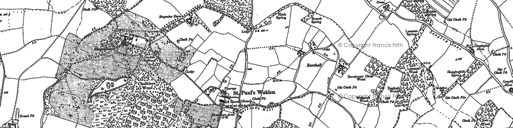 Old map of St Paul's Walden in 1897
